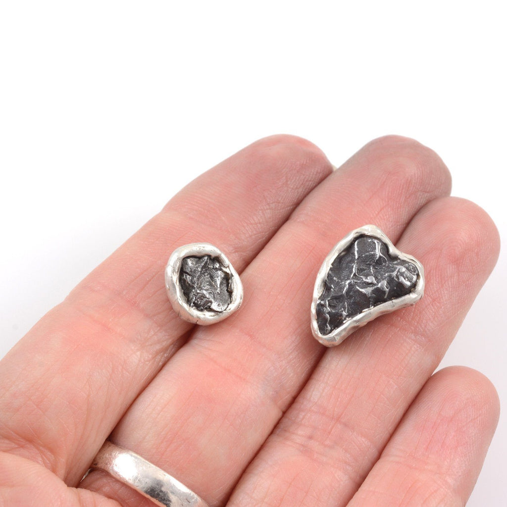 Reserved Custom Order - Meteorite Tie Magnets in Sterling Silver - Ready to Ship