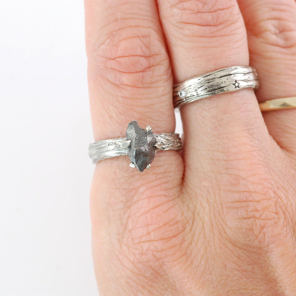 Tree Bark Ring with Meteorite in Palladium Sterling Silver - size 6.25 - Ready to Ship