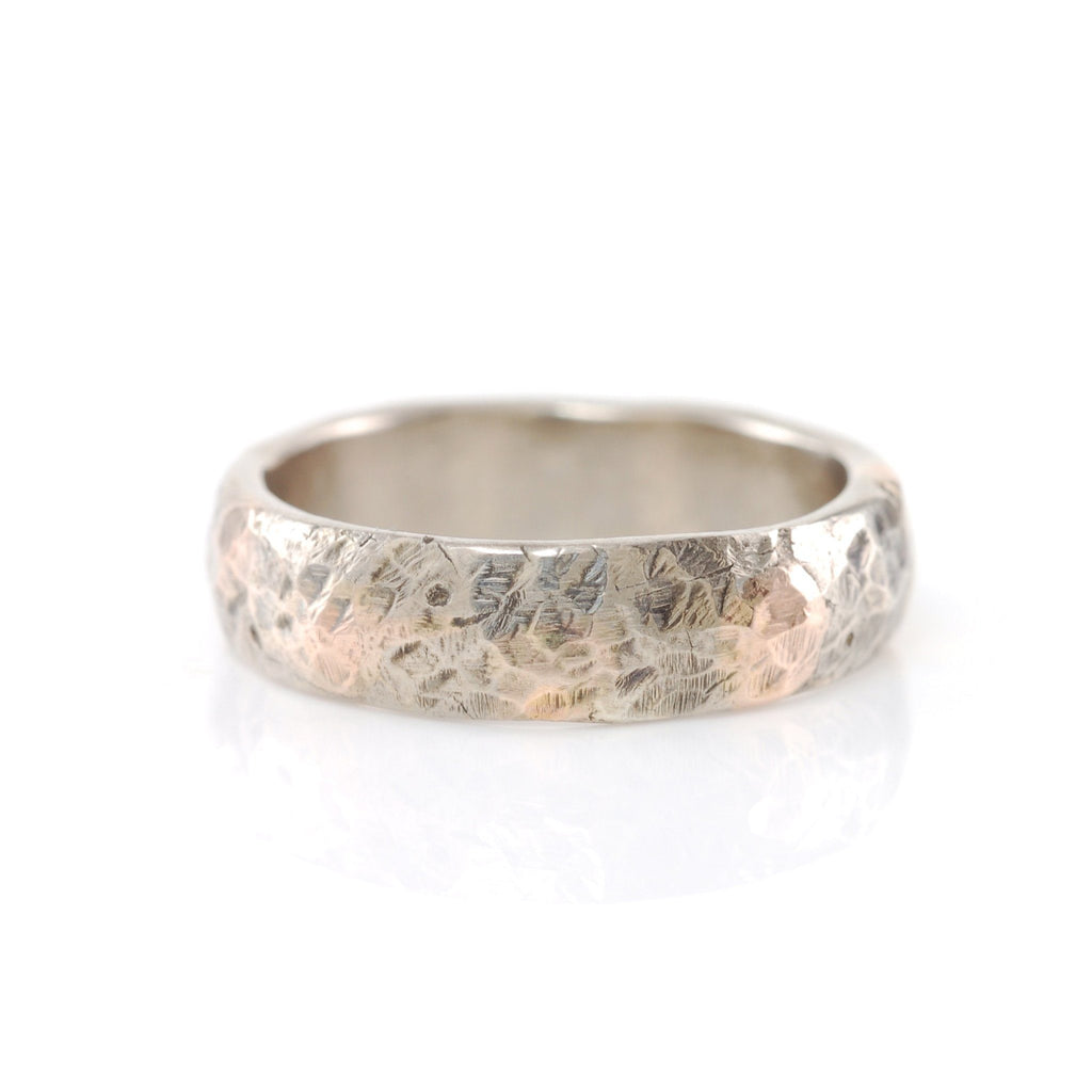 Mixed Metal Granite Texture Ring - 14k Gold and Palladium Sterling Silver - size 7 1/4 - Ready to Ship