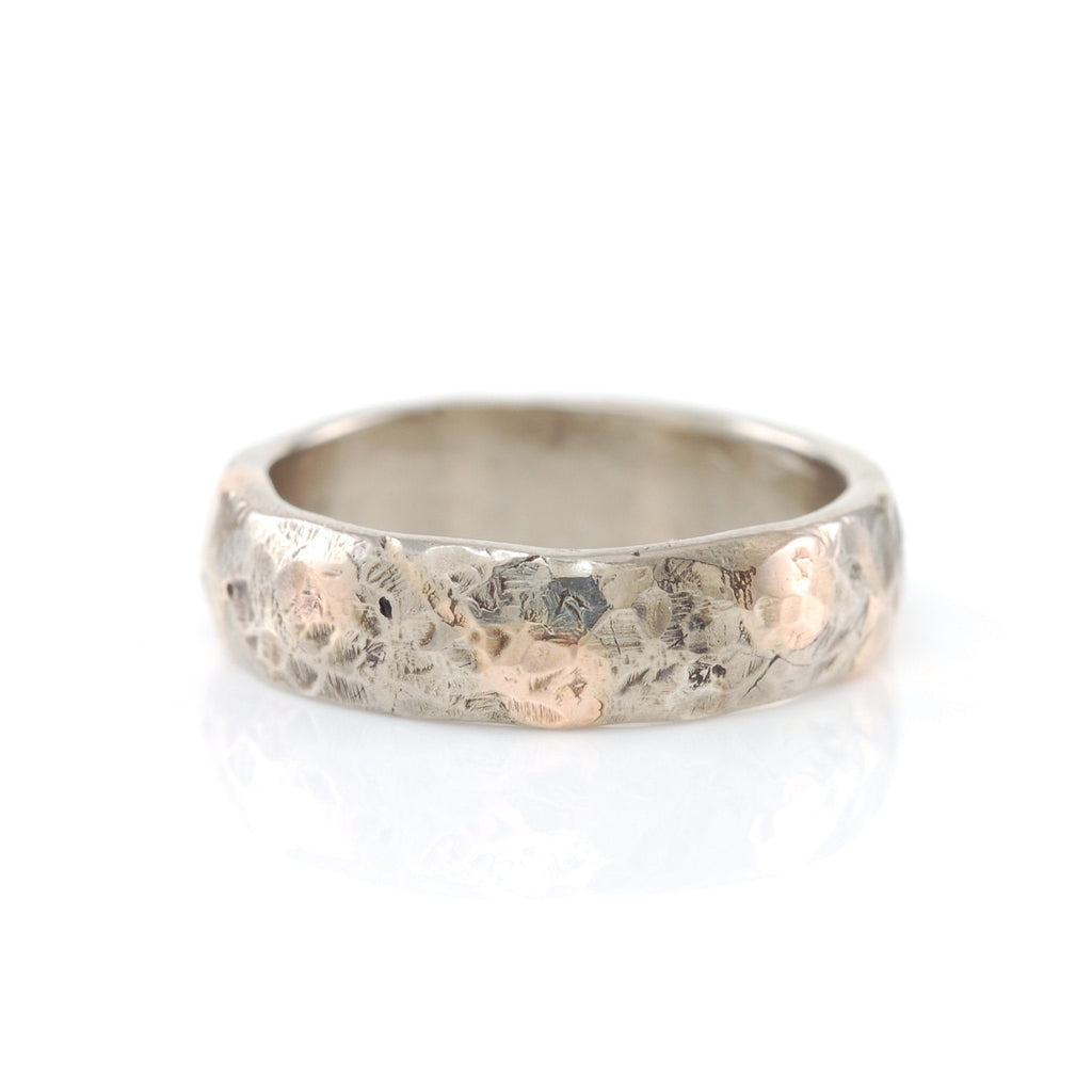 Mixed Metal Granite Texture Ring - 14k Gold and Palladium Sterling Silver - size 7 1/4 - Ready to Ship - Beth Cyr Handmade Jewelry