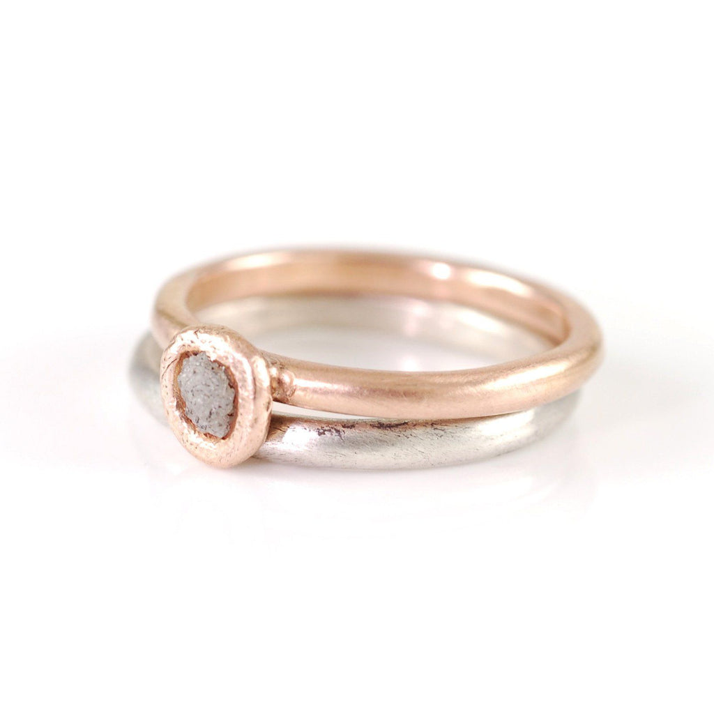 Mixed Metal Simplicity Ring Set - 14k Rose Gold and Palladium Sterling Silver with Gray Rough Diamond - size 7 - Ready to Ship - Beth Cyr Handmade Jewelry