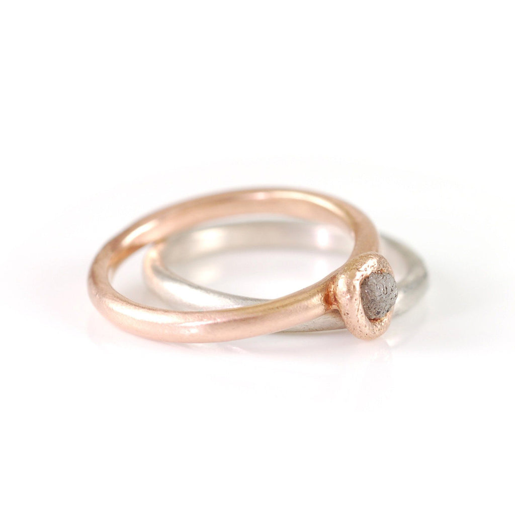 Mixed Metal Simplicity Ring Set - 14k Rose Gold and Palladium Sterling Silver with Gray Rough Diamond - size 7 - Ready to Ship