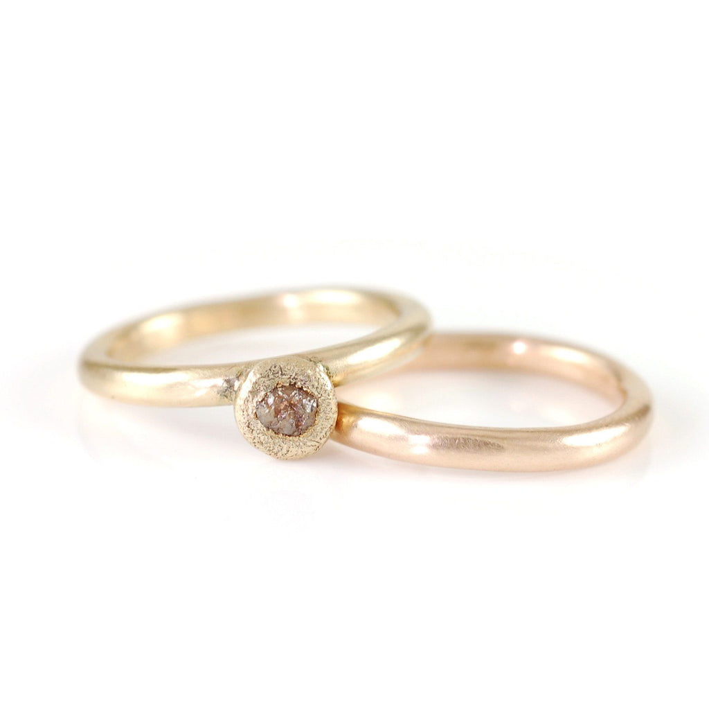 Mixed Metal Simplicity Ring Set - 14k Peach Gold and 14k Yellow Gold with Grey Rough Diamond - size 5 3/8 - Ready to Ship