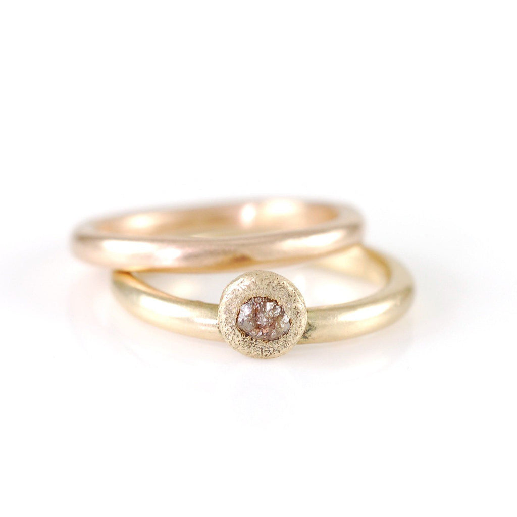 Mixed Metal Simplicity Ring Set - 14k Peach Gold and 14k Yellow Gold with Grey Rough Diamond - size 5 3/8 - Ready to Ship - Beth Cyr Handmade Jewelry