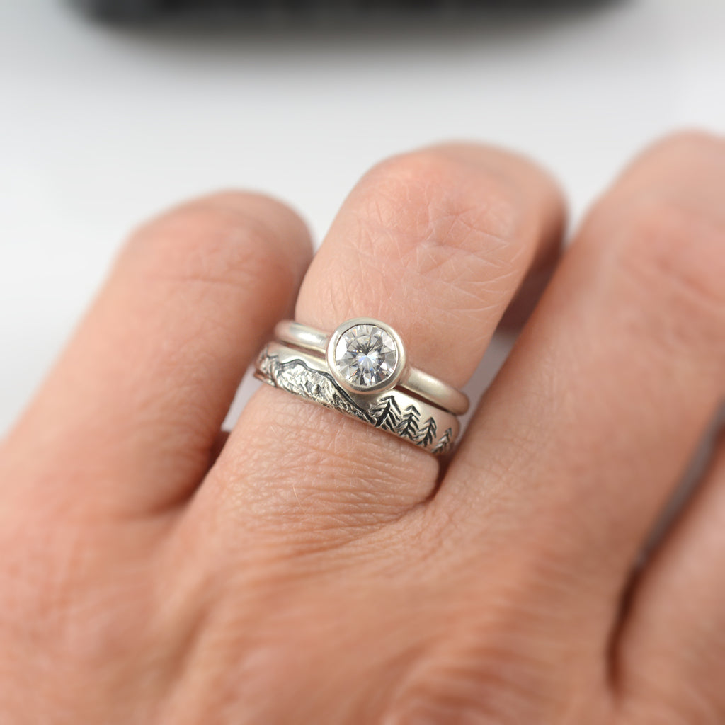 Landscape band with moissanite simplicity ring - final balance