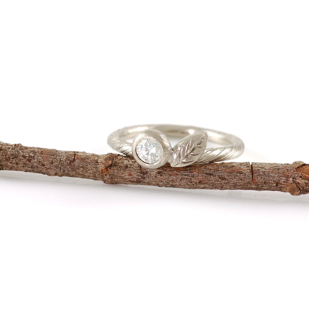 Palladium Sterling Silver Vine and Leaf Ring with 4mm White Sapphire - Beth Cyr Handmade Jewelry