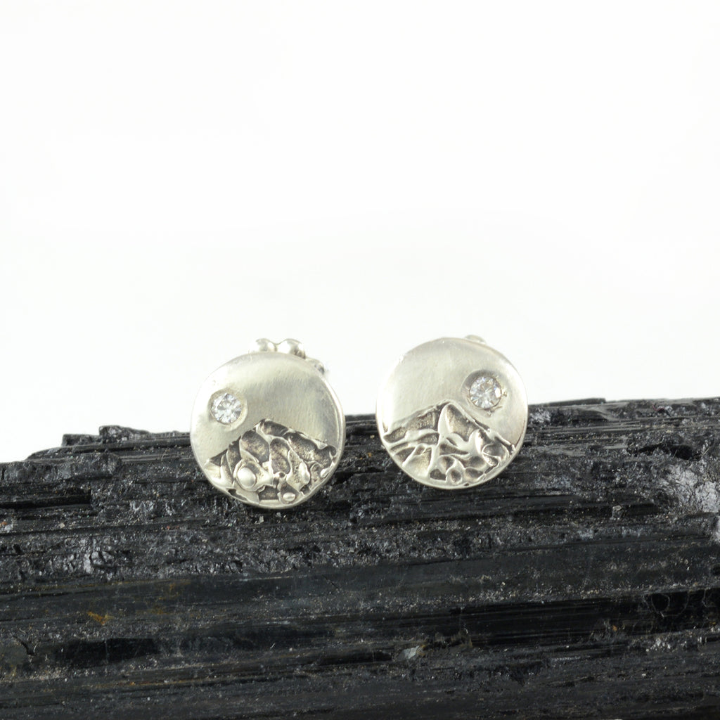 Landscape Earrings - Mountain with Moissanite Sterling Silver Post Earrings - Ready to Ship