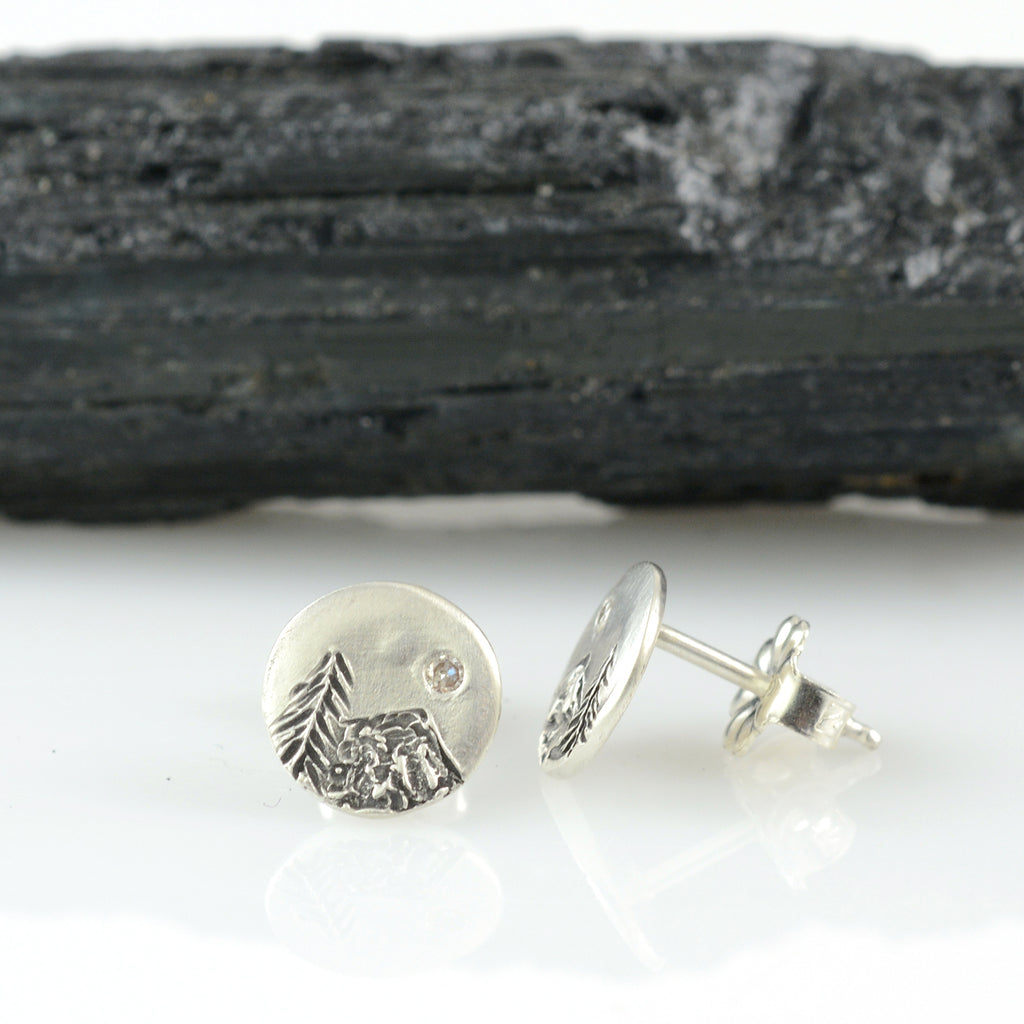 Landscape Earrings - Tree and Mountain with Moissanite Sterling Silver Post Earrings - Ready to Ship
