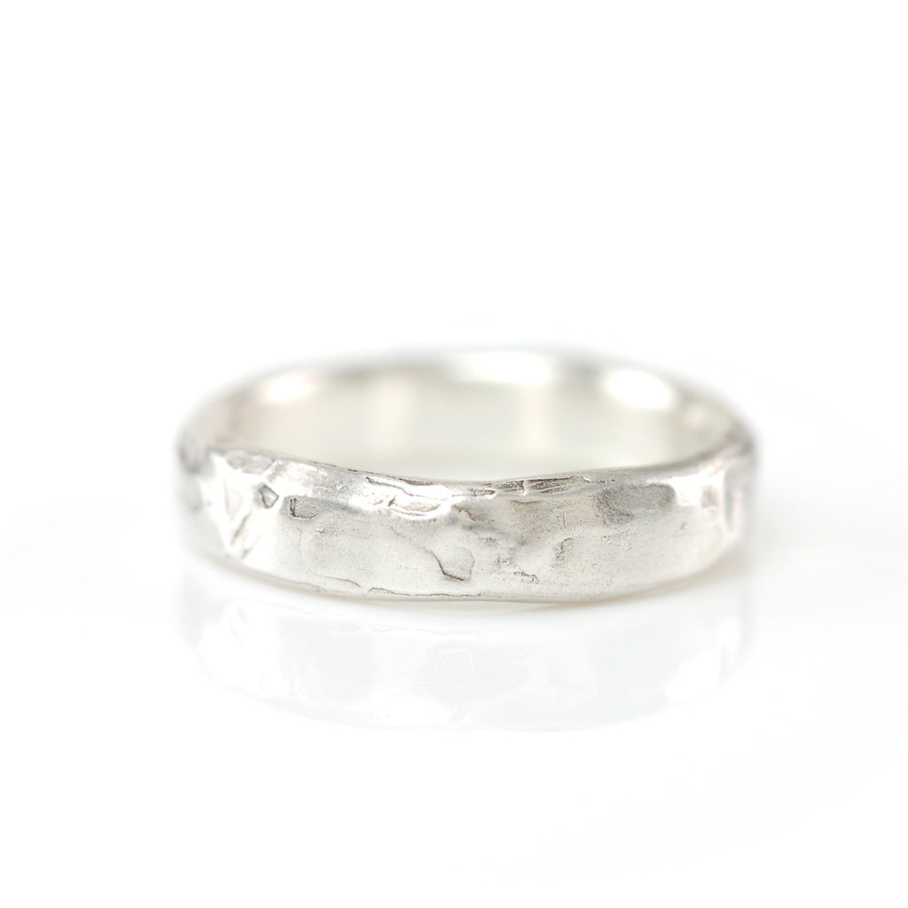 Molten Wedding Rings in Palladium Sterling Silver - Made to Order - Beth Cyr Handmade Jewelry