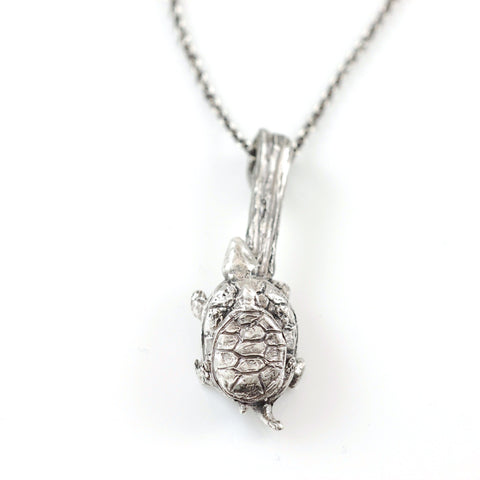 Mom and Tiny Turtle Pendant in Sterling Silver - Ready to Ship - Beth Cyr Handmade Jewelry