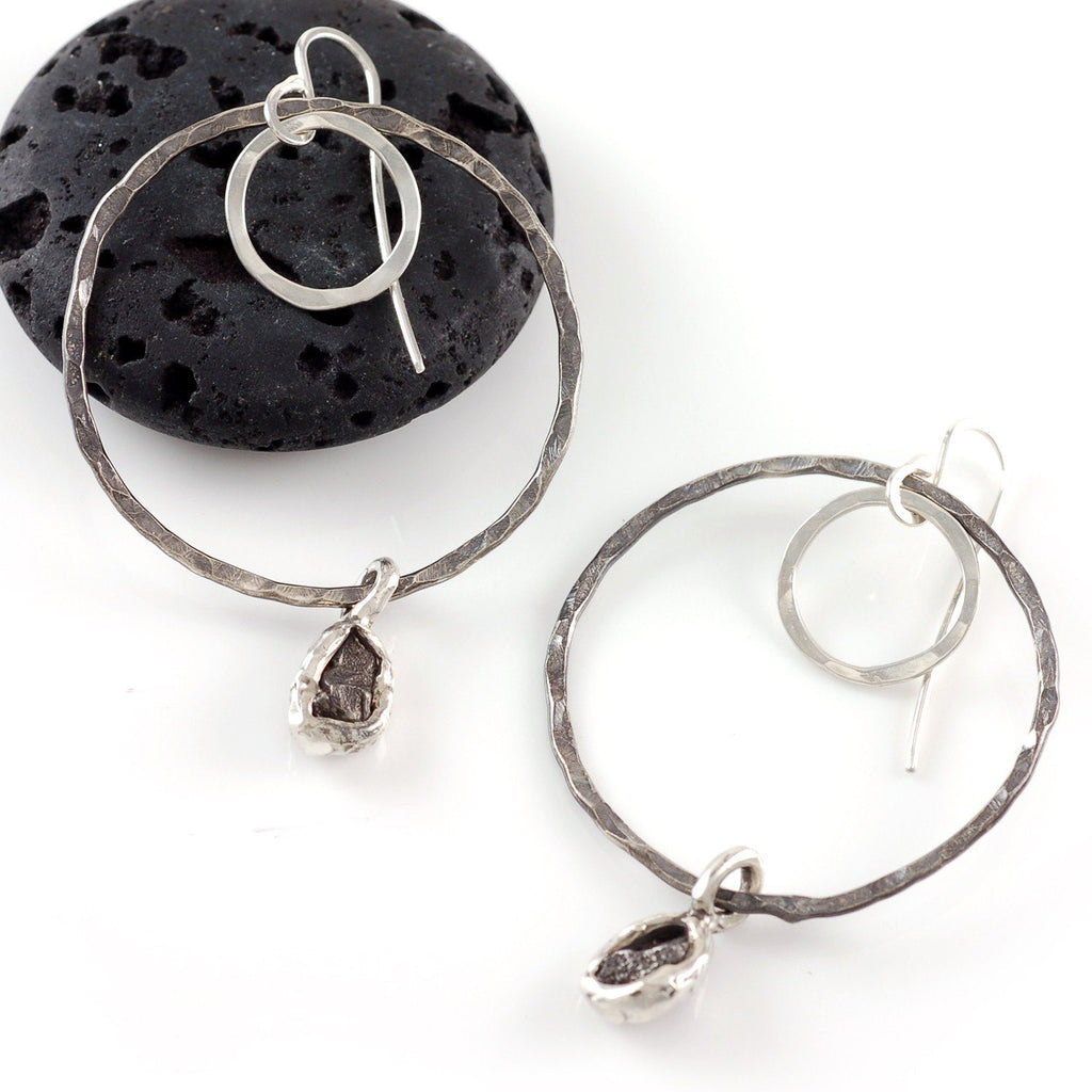 Moon and Meteorite Earrings - Made to Order