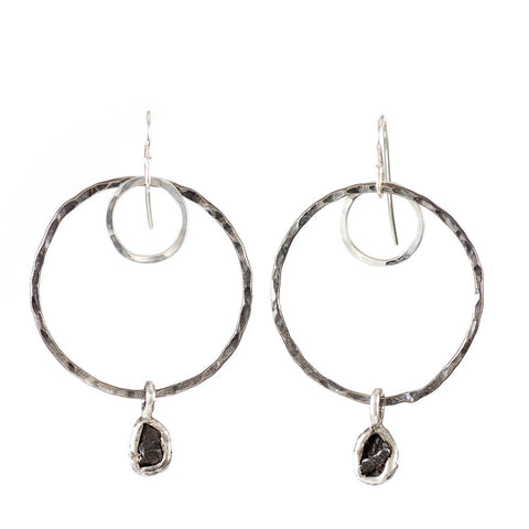 Moon and Meteorite Earrings - Ready to Ship - Beth Cyr Handmade Jewelry