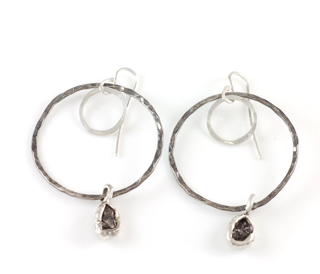 Moon and Meteorite Earrings - Made to Order - Beth Cyr Handmade Jewelry