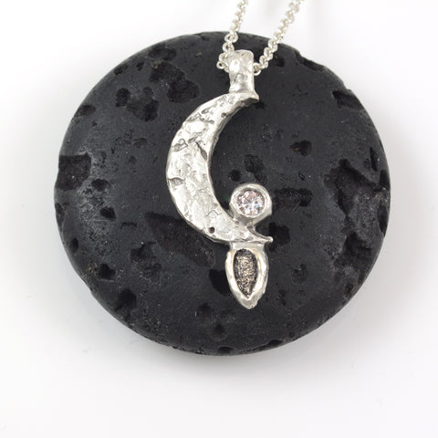 Moon pendant with Meteorite and Moissanite in Sterling Silver - Ready to Ship