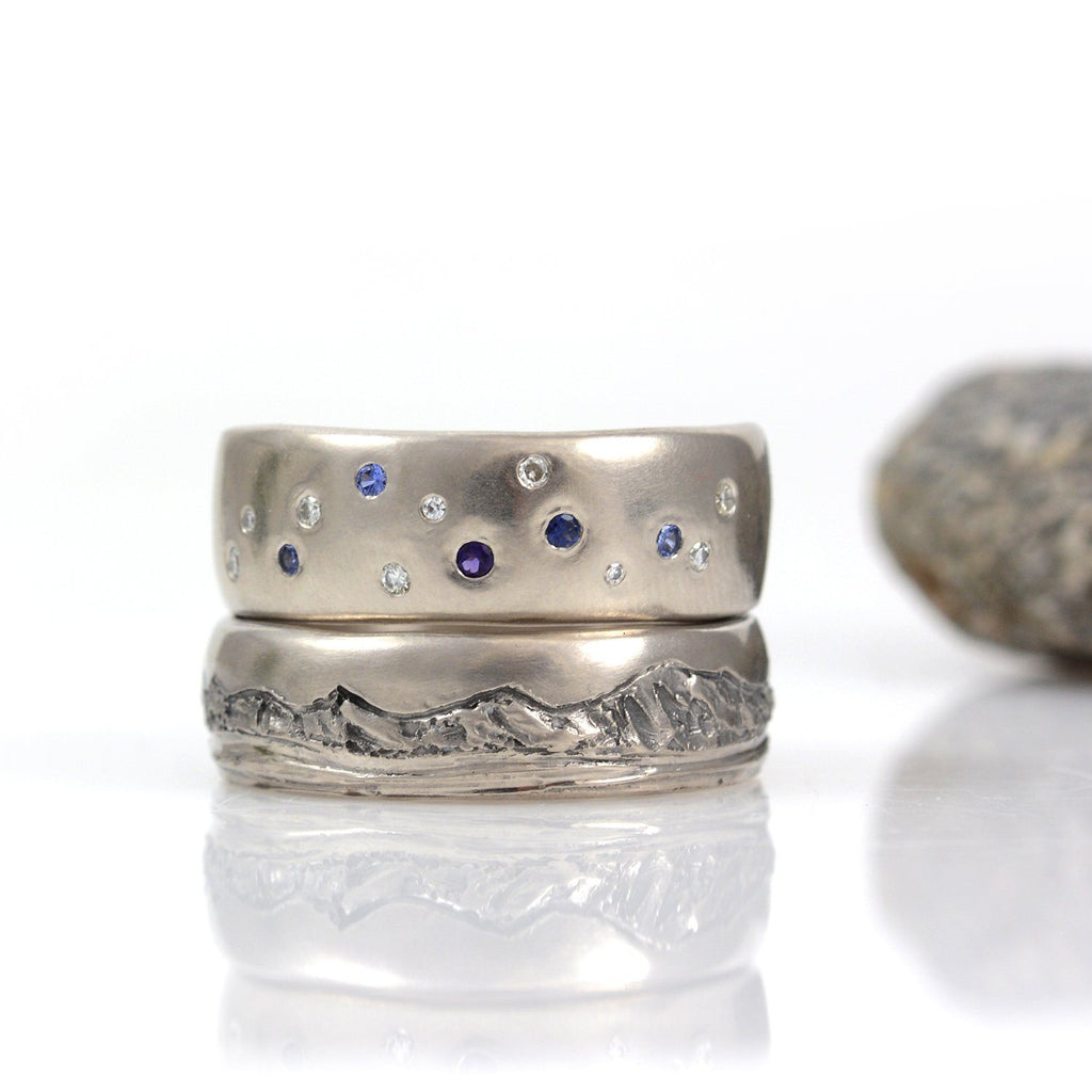 Custom Order Final Payment for Chris - Scattered Star and Mountain and Sea Ring Set - Beth Cyr Handmade Jewelry