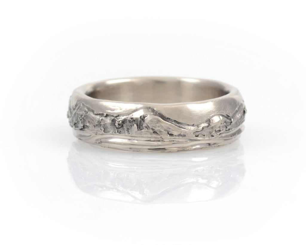 Mountain and Sea Wedding Rings in Palladium/Silver - Made to order - Beth Cyr Handmade Jewelry
