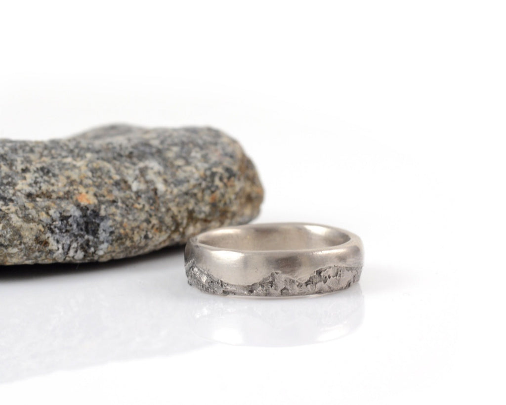 Mountain Wedding Rings in Palladium/Silver - Made to order - Beth Cyr Handmade Jewelry