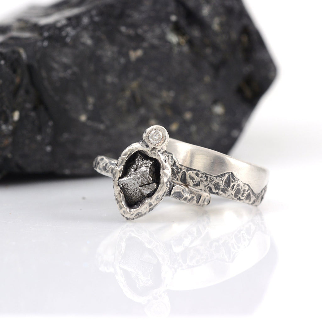 Mountain Meteorite and Moissanite Ring Set in Palladium Sterling Silver - size 6 1/2 - Ready to Ship - Beth Cyr Handmade Jewelry