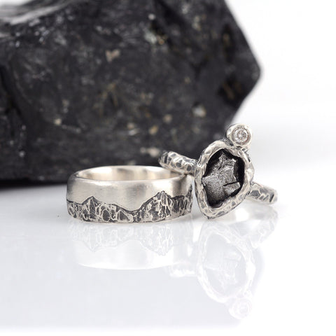 Mountain Meteorite and Moissanite Ring Set in Palladium Sterling Silver - size 6 1/2 - Ready to Ship