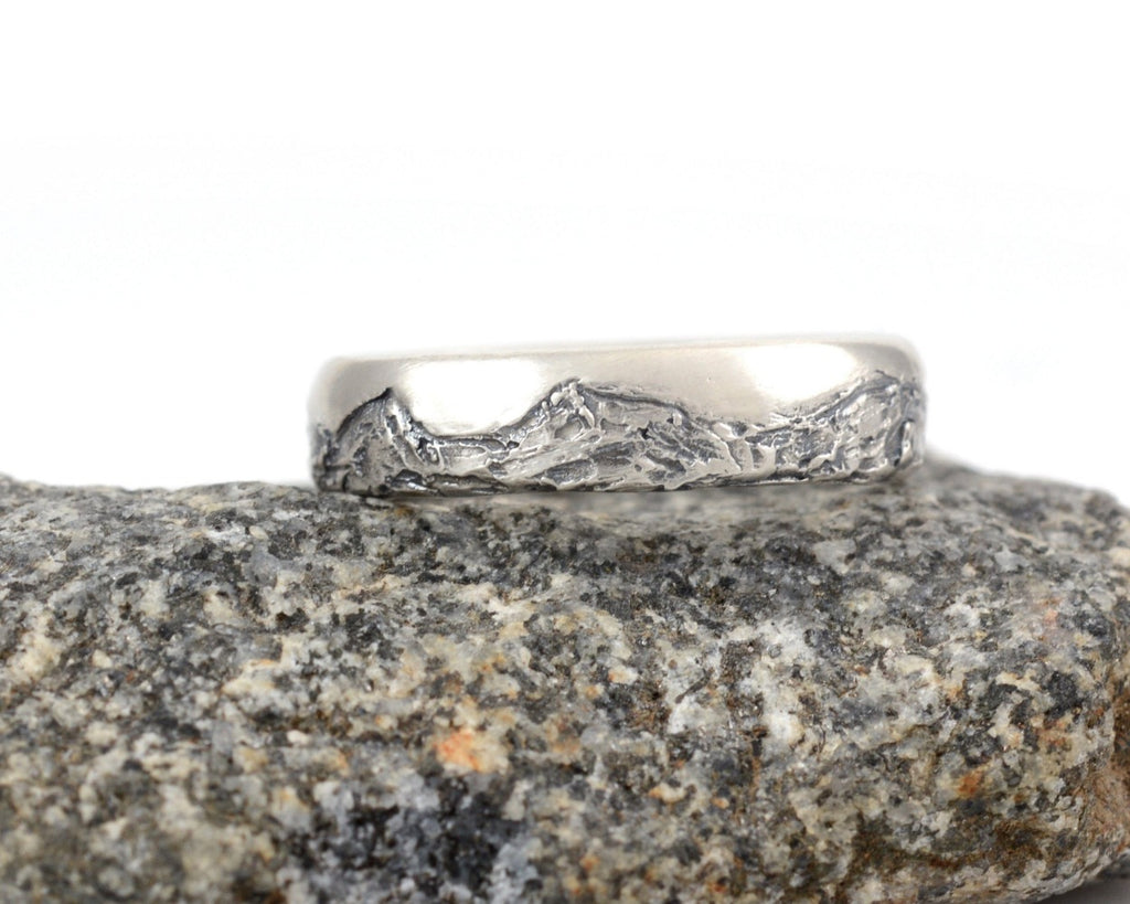 Mountain Wedding Rings in Palladium Sterling Silver  - Made to Order - Beth Cyr Handmade Jewelry