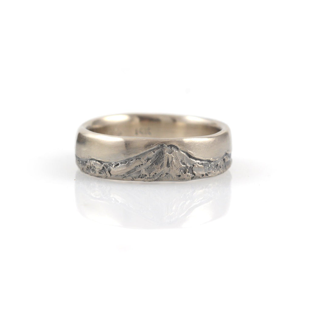 Mountain Wedding Rings in 14k Palladium White Gold - Made to order - Beth Cyr Handmade Jewelry