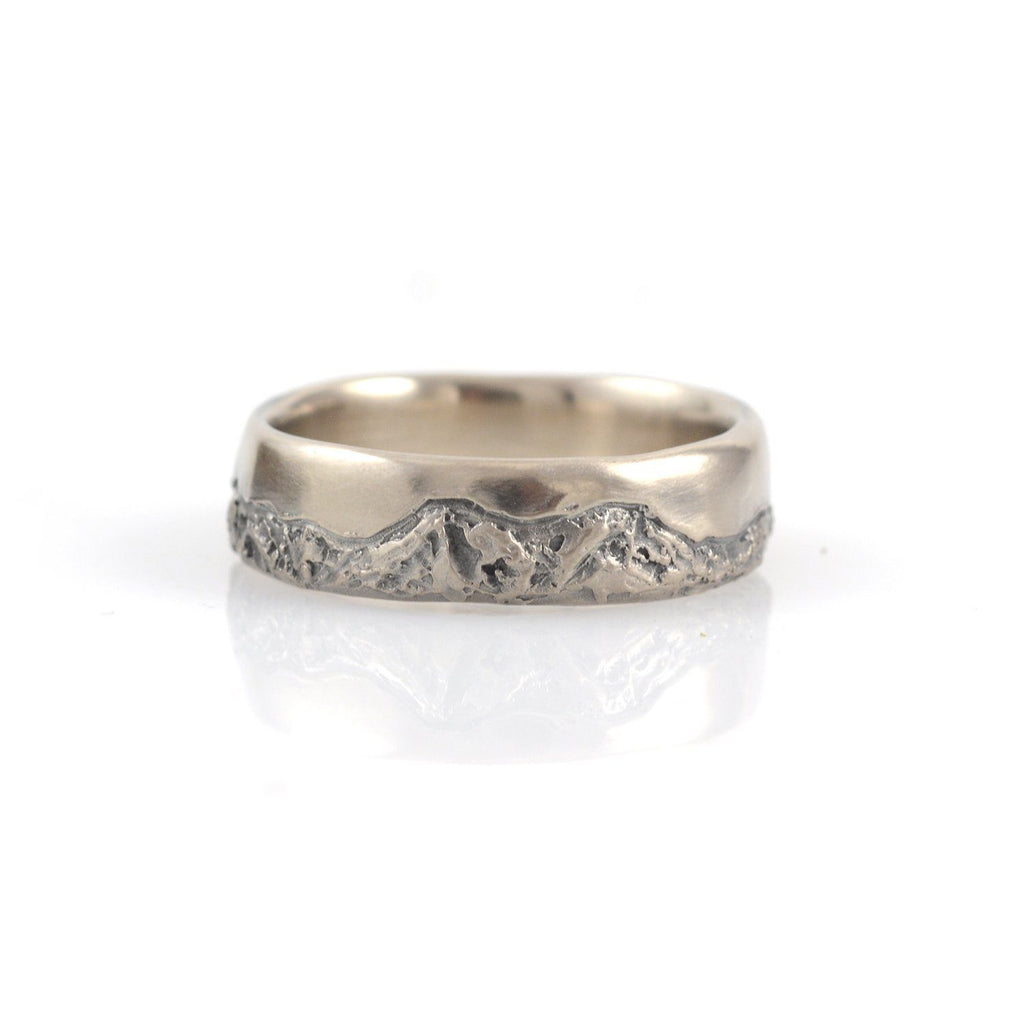 Mountain Wedding Rings in 14k Palladium White Gold - 6mm size 9 - Ready to Ship - Beth Cyr Handmade Jewelry