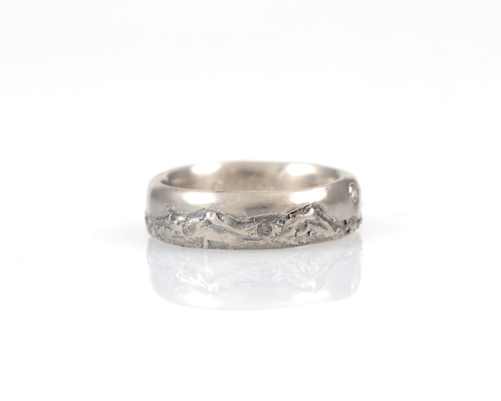 Mountain Wedding Rings in Palladium/Silver with Diamond or Moissanite - Made to order - Beth Cyr Handmade Jewelry