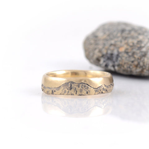 Mountain Wedding Rings in Yellow Gold - Made to Order - Beth Cyr Handmade Jewelry