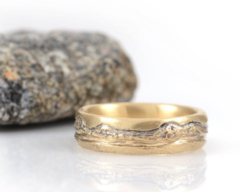 Mountain, Sea and Sand Wedding Rings in Yellow Gold - Made to Order - Beth Cyr Handmade Jewelry