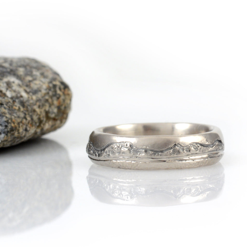 Mountain, Sea and Sand Wedding Rings in Palladium/Silver - Made to order - Beth Cyr Handmade Jewelry