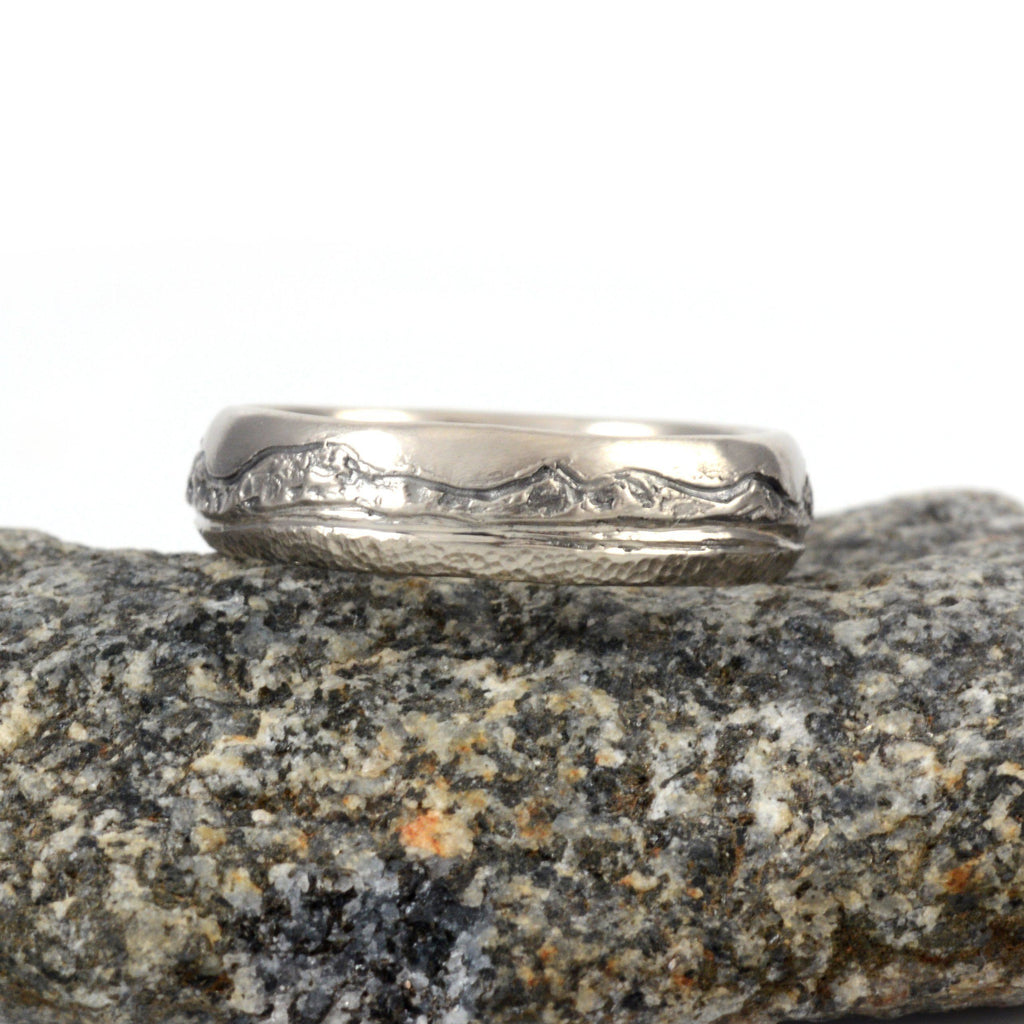 Mountain, Sea and Sand Wedding Rings in Palladium/Silver - 5mm size 6.25 - Ready to Ship - Beth Cyr Handmade Jewelry