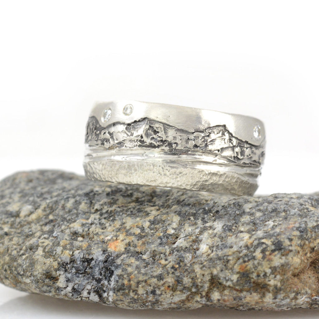 Mountain, Sea and Sand Ring in Palladium Sterling Silver with Moissanite - Size 8 - Ready to Ship - Beth Cyr Handmade Jewelry