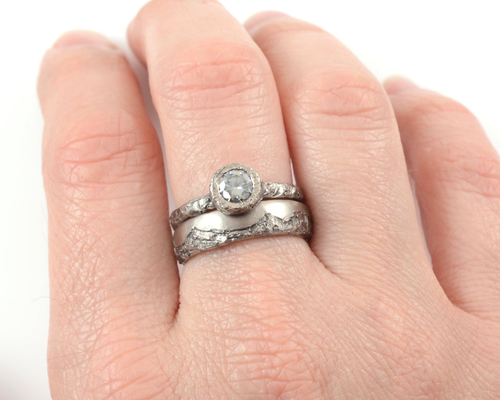 Mountain Texture Engagement Ring with Moissanite in Palladium/Silver - Made to Order - Beth Cyr Handmade Jewelry