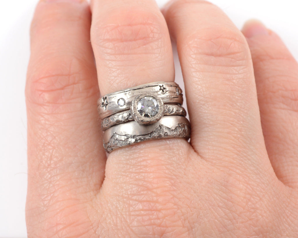 Mountain Ring Set with Dark Gray Moissanite in Palladium/Silver - size 6 - Ready to Ship - Beth Cyr Handmade Jewelry