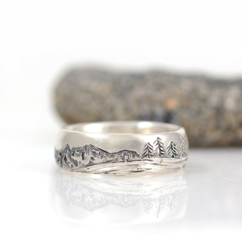 Mountain, Tree and Sea Wedding Rings in Palladium Sterling Silver  - Made to Order - Beth Cyr Handmade Jewelry