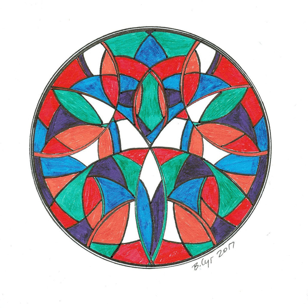 "Multi-color ""Stained Glass"" Mandala - Original Drawing"