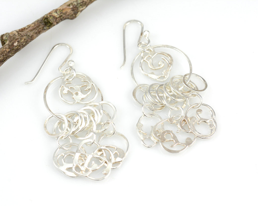Dangling Organic Vine Charms and Circle Earrings in Sterling Silver #28 - Ready to Ship