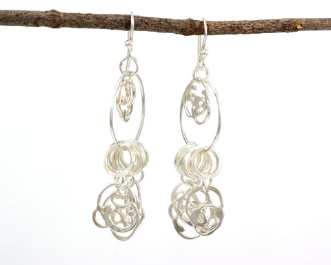Dangling Organic Vine Charms and Circle Earrings in Sterling Silver #28 - Ready to Ship - Beth Cyr Handmade Jewelry