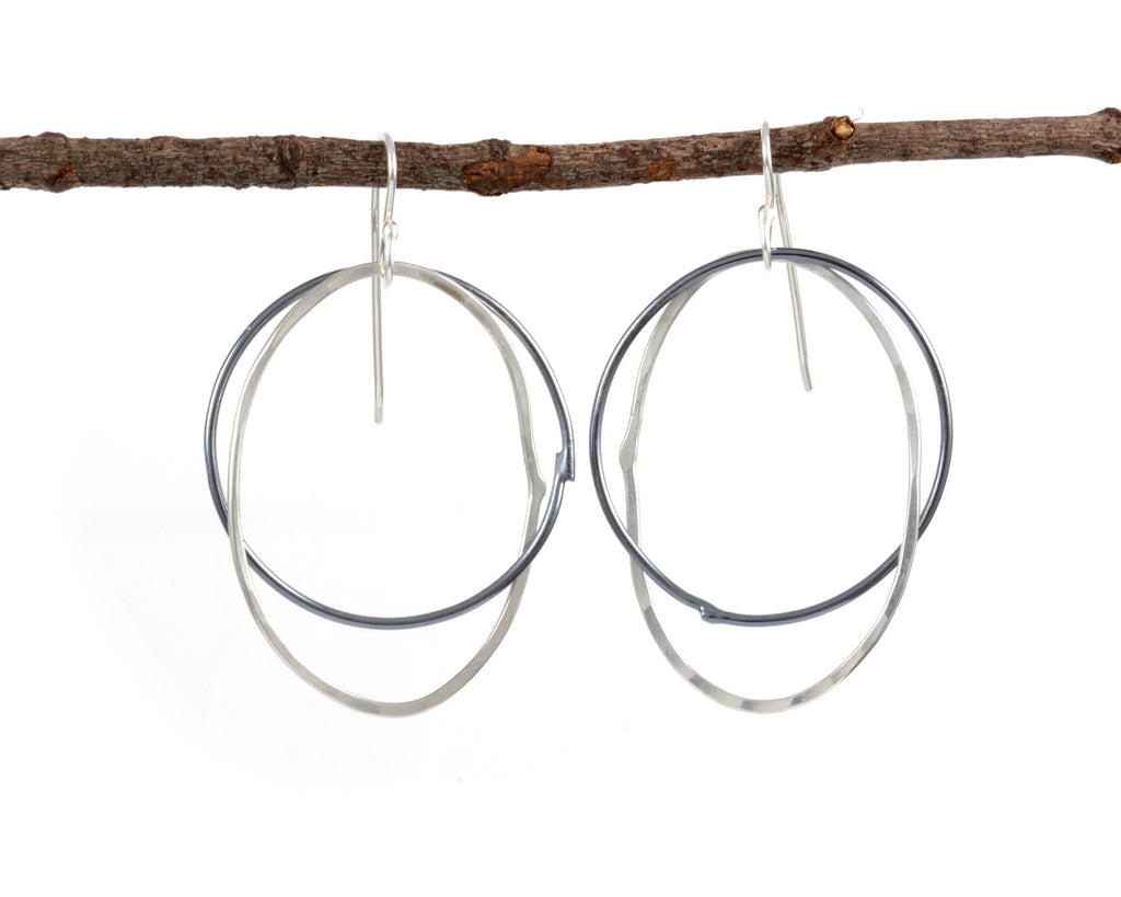 Night and Day Earrings - Argentium Sterling Silver Intertwined Circle and Oval - Ready to Ship - Beth Cyr Handmade Jewelry