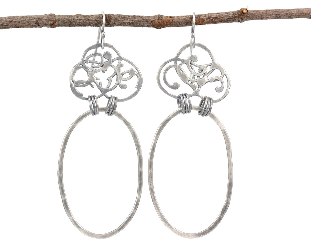 Organic Vine and Large Oval Earrings in Sterling Silver - Ready to Ship - Beth Cyr Handmade Jewelry