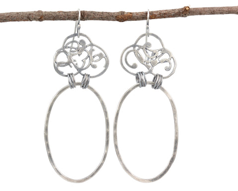Organic Vine and Large Oval Earrings in Sterling Silver - Ready to Ship