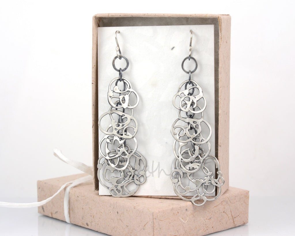 Organic Vine Dangly Chandelier Earrings - Sterling Silver - Ready to Ship - Beth Cyr Handmade Jewelry