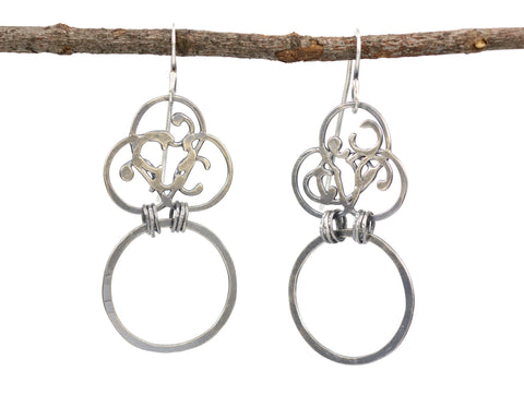 Organic Vine and Medium Circle Earrings in Sterling Silver - Ready to Ship