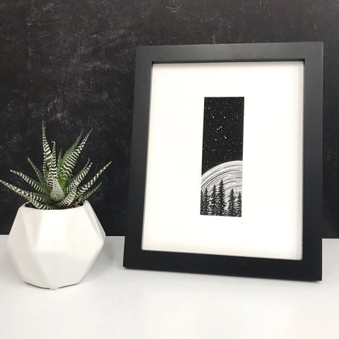Orion Beyond Space and Time -Trees and Star Trails - Pen and Ink Drawing Print - Beth Cyr Handmade Jewelry