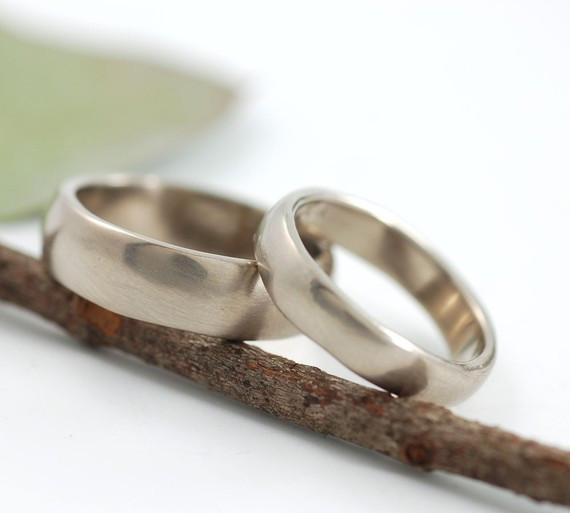 Simplicity Wedding Rings in Palladium White Gold - Made to Order - Beth Cyr Handmade Jewelry