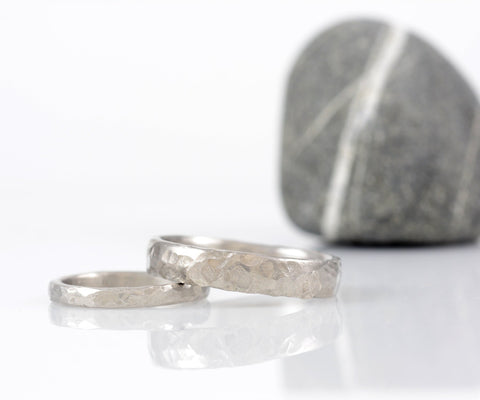 Love Rocks Hammered Wedding Rings in Palladium 950 - Made to Order - Beth Cyr Handmade Jewelry