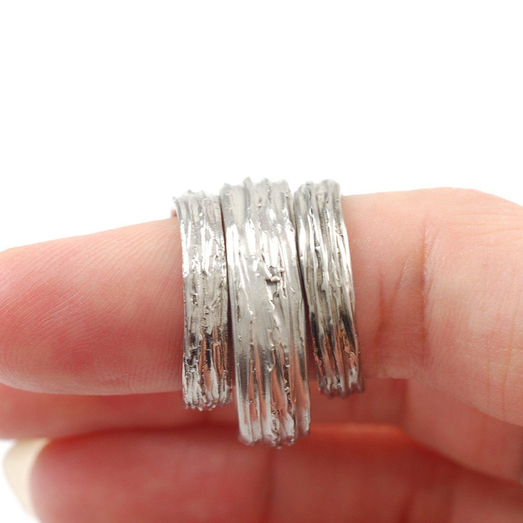 Custom Tree Bark Wedding Rings in Palladium/Silver and Meteorite and Tree Bark Ring - Made to Order - Beth Cyr Handmade Jewelry
