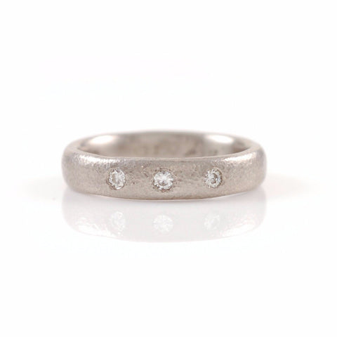 Sands of Time Wedding or Engagement Ring with 3 Moissanites in Palladium/Silver - Made to Order - Beth Cyr Handmade Jewelry