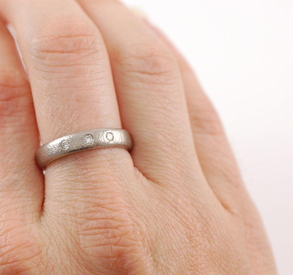Sands of Time Wedding or Engagement Ring with 3 Diamonds in 14k Palladium White Gold - Made to Order - Beth Cyr Handmade Jewelry