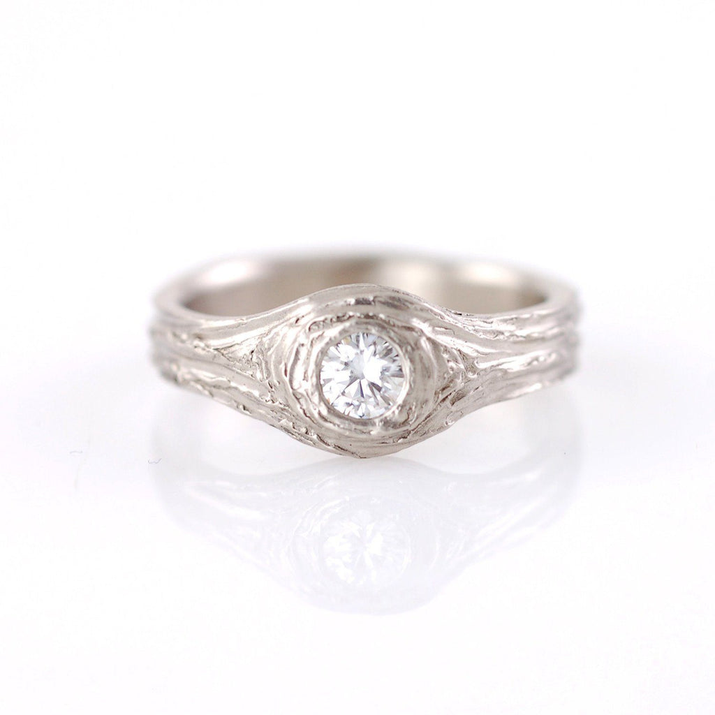 Moissanite Love Knot Engagement Ring in 14k Palladium White Gold - size 7 - Ready to Ship - Beth Cyr Handmade Jewelry